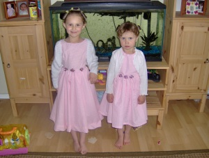 The Girls showing off their new dresses.