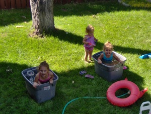 The Kids Personal Pools - that's right, a couple of storage containers filled with water!